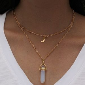 Jewelry - Gold Layered Moon Necklace 🌙 White ⭐️